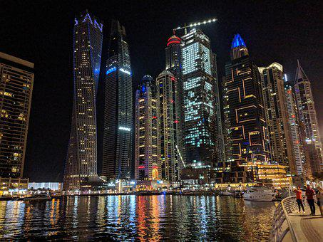 Uae, Dubai, Emirates, City, Night, Travel, Cityscape
