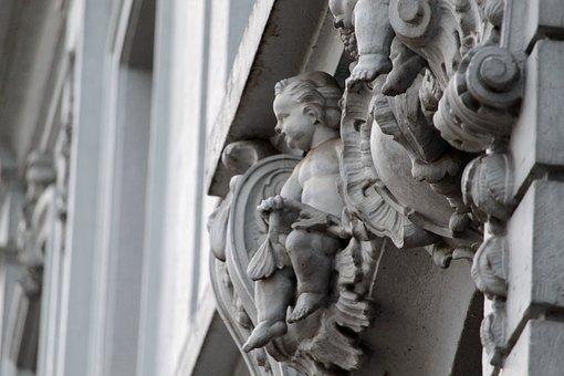 Basel, Switzerland, Facade, Stucco, Figure, Putto