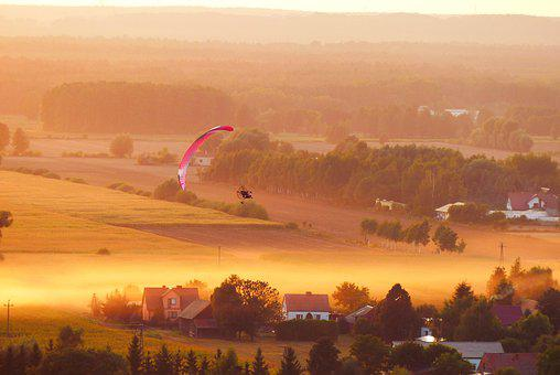 Paraglider, Landscape, Fly, The Fog, Sunset, Village