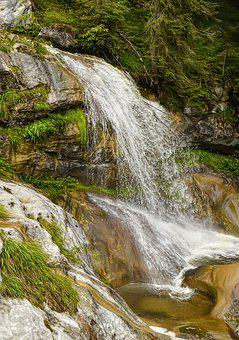 Waterfall, Water, Landscape, Nature, Forest, Cascade