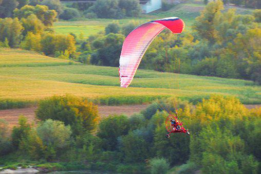 Paraglider, Landscape, Fly, Sunset, Village, Nature
