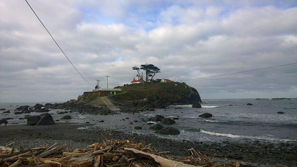 Ocean, Crescent City, Lighthouse, Pacific