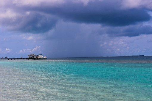 Windy, Pier, Island, Maldives, Beach, Ocean Storm