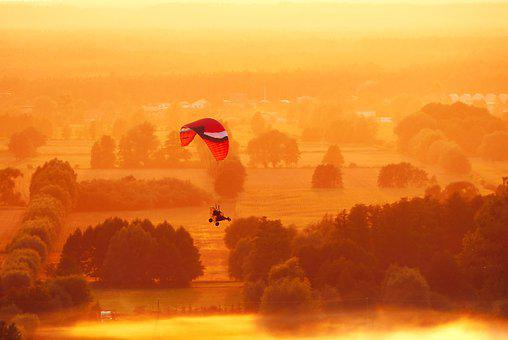 Paraglider, Landscape, Fly, Sunset, The Fog, Village