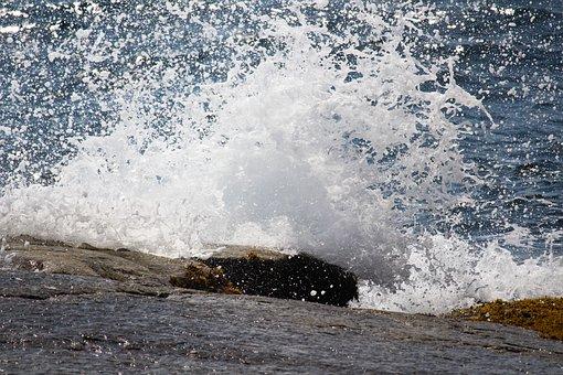 Splash, Ocean, Waves, Water, Summer, Splashing, Power