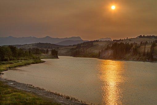 Sunset, Smoke, Lake, Reflection, Mountains, Foothills