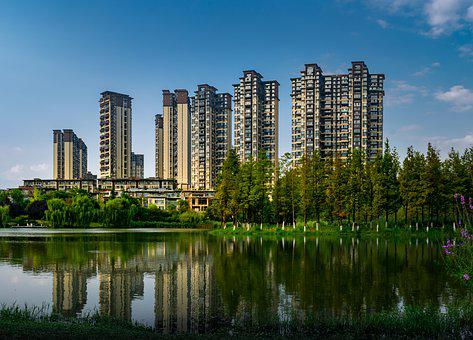 Building, Lake, Tree, Reflection, Park, Guiyang