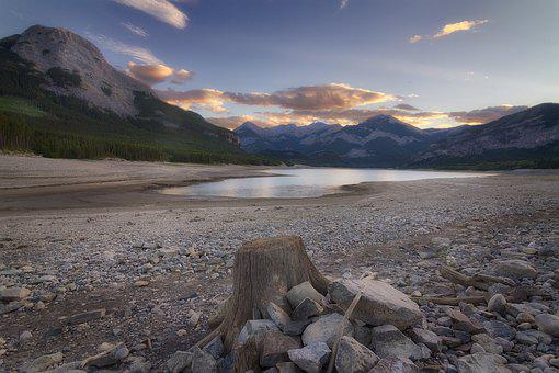 Mountains, Lake, Stump, Rockies, Alberta, Canada