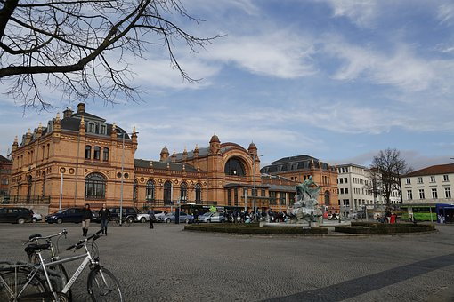 Station, White Cloud, Scenery, Germany, Square