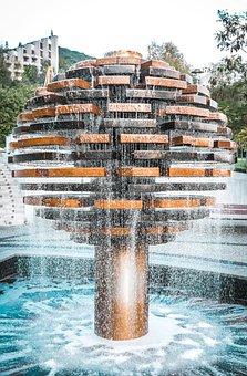 Fountain, Water, Drops, Park, Wet, Cascade