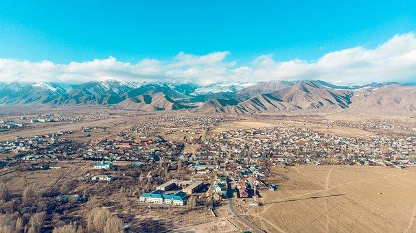 Kyrgyzstan, Nature, Drone, Mountains, Landscape, Clouds