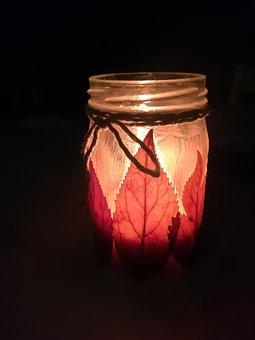 Candle, Oil Lamp, Foliage
