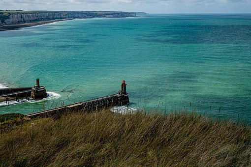 France, Fécamp, Landscape, Sea, Normandy, Port, Blue