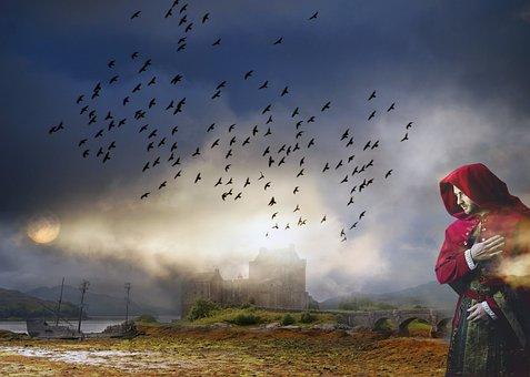 Knight, Landscape, Man Red Cape, Castle, Fog, Molt