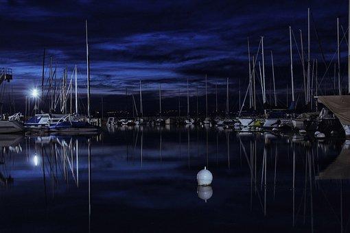 Port, Night, Lake, Water, Calm, Lights, Magic, Dark