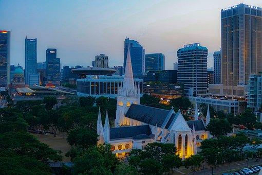 Singapore, Marina, Baysand, Architecture, City, Night