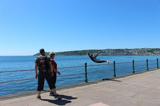 Sea, Ocean, Penzance, Cornwall, Promenade, Hi-jinks