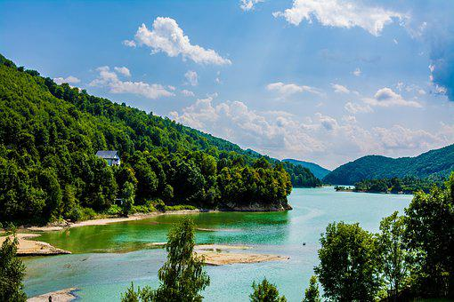 Landscape, River, Sky, Nature, Road, Water, Green