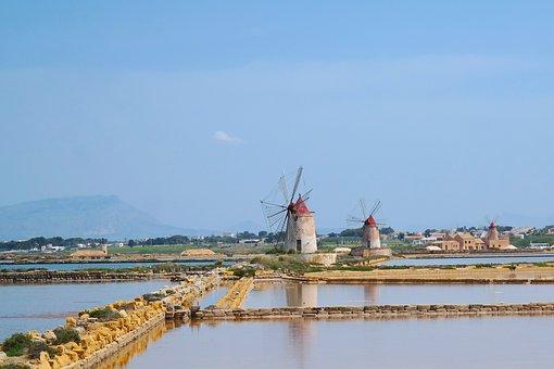 Sicily, Italy, Mediterranean, Historic, Salt, Mills