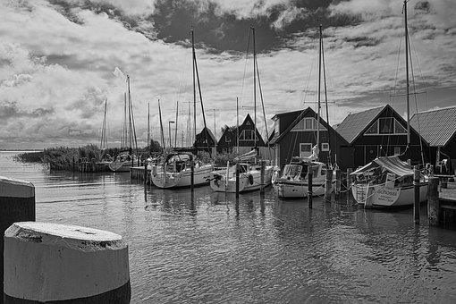 Bodden, Port, Coast, Water, Sky, Sailing Boat