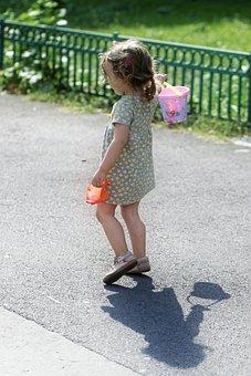 Girl, Small, Girlie, Going, The Sidewalk, Toys, Bucket