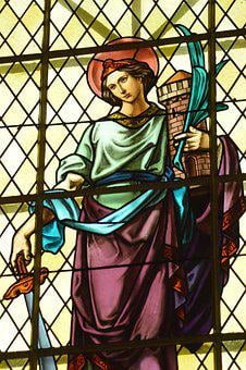 Stained Glass, Window, Church, Woman, Beard, Halo