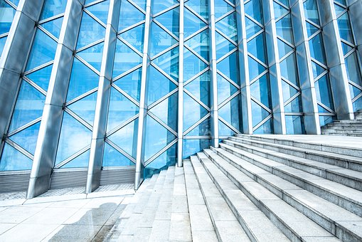 Abstract, Architecture, Background, Bank, Blue