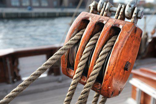 Sailing Vessel, Cable, Rope, Block And Tackle, Ship