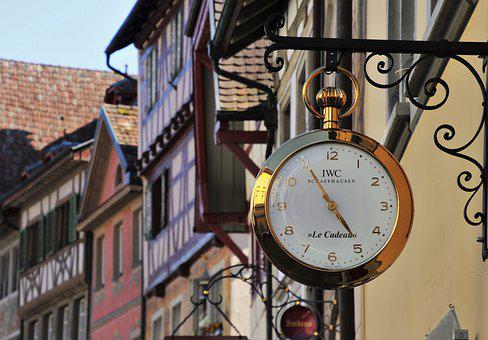 Old Houses, Retro, Clock, Stein Am Rhein, The Window