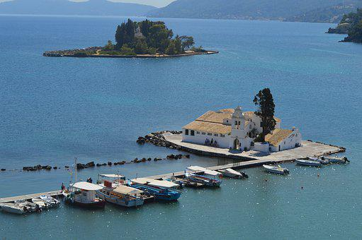 Greece, Corfu, Corfu Island, Pontikonisi, Sea, Island