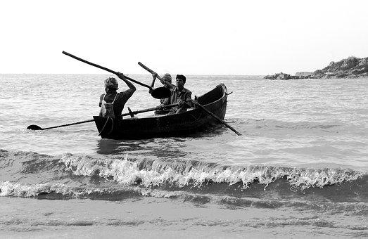 Boat, Fishing, Black And White, Gokarna, India