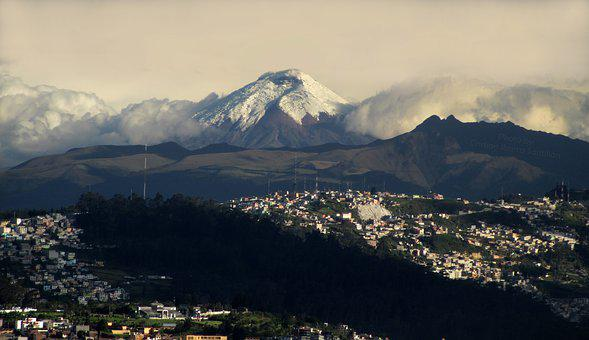 City, Mountain, Volcano, Outdoors, Landscape, Clouds