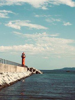 Lighthouse, Sea, Nature, Cloud