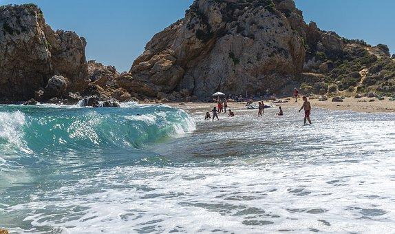 Sea, Black Wave, Rocks, Greece, Pelion, Holidays