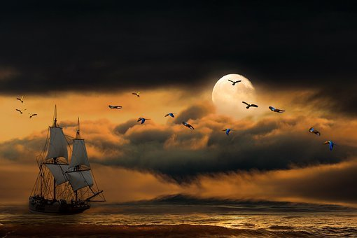 Nature, Ocean, Sea, Beach, Moon, Night, Sailing Vessel