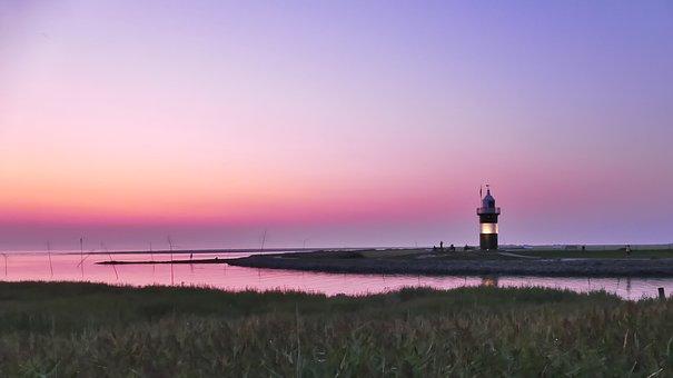 Lighthouse, Landscape, Sea, Wremen, Sky