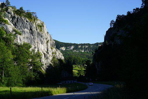 Transit, Rock By Journey, The Felsental, Valley, Road