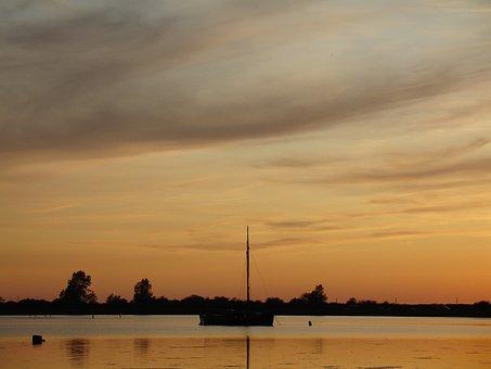 Dusk, Beach, Vacations, Boats, Sailing Boat, Summer