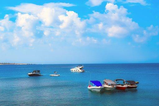 Boats, Sea, Sky, Clouds, Horizon, Summer, Vacation