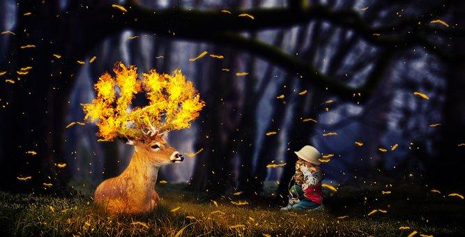 Fantasy, Deer, Fire, Child, Forest, Mystical, Animal
