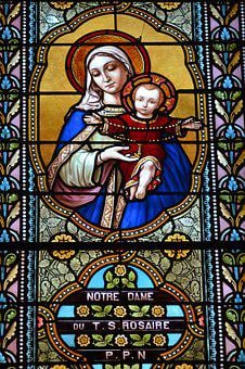 Stained Glass, Window, Church, Colorful, Mary, Jesus