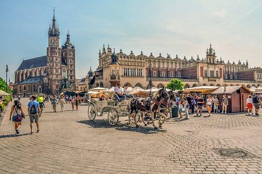 Krakow, Town, Square, City, Architecture, Europe