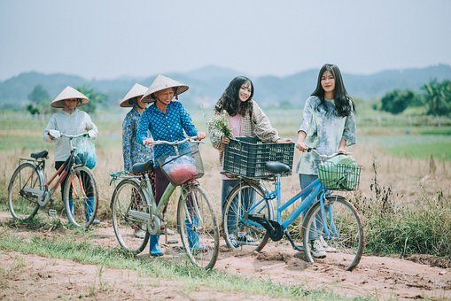 People, Girl, Woman, Together, Outdoor, Bike, Farmer