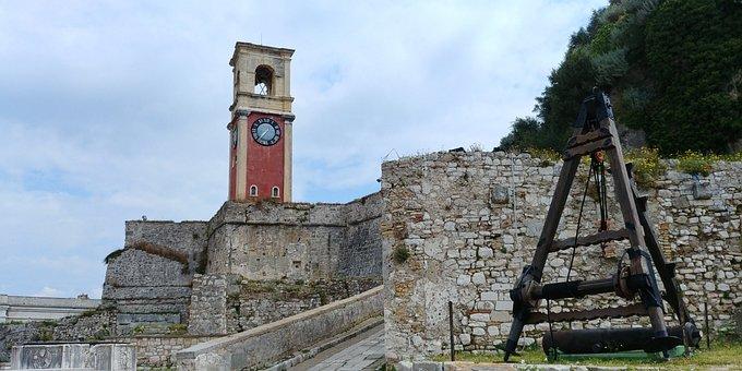 Corfu, Fortress, Mediterranean, Tourism, Clocktower