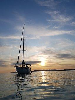 Boat, Sunset, Water, Balaton, Ocean, Sky, Lake, Nature