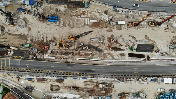 Road, Constructions, Street, Tractor, Industry, Site