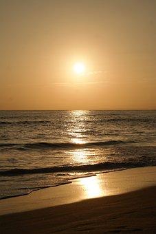 Sunrise, Gold, Golden, Sunset, Sea, Wave, Beach