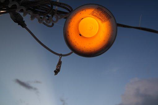 Lamp, Light, Orange, Blue, Lantern, Abendstimmung