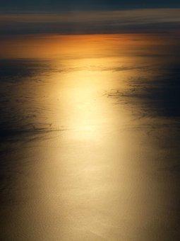 Sunset, Ocean, Aircraft, Twilight, Water, Sea, Evening