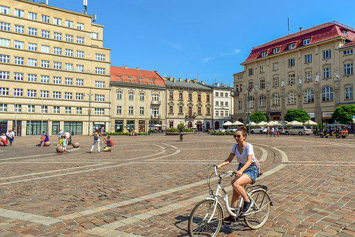Square, Bicycle, Girl, Buildings, Architecture, City